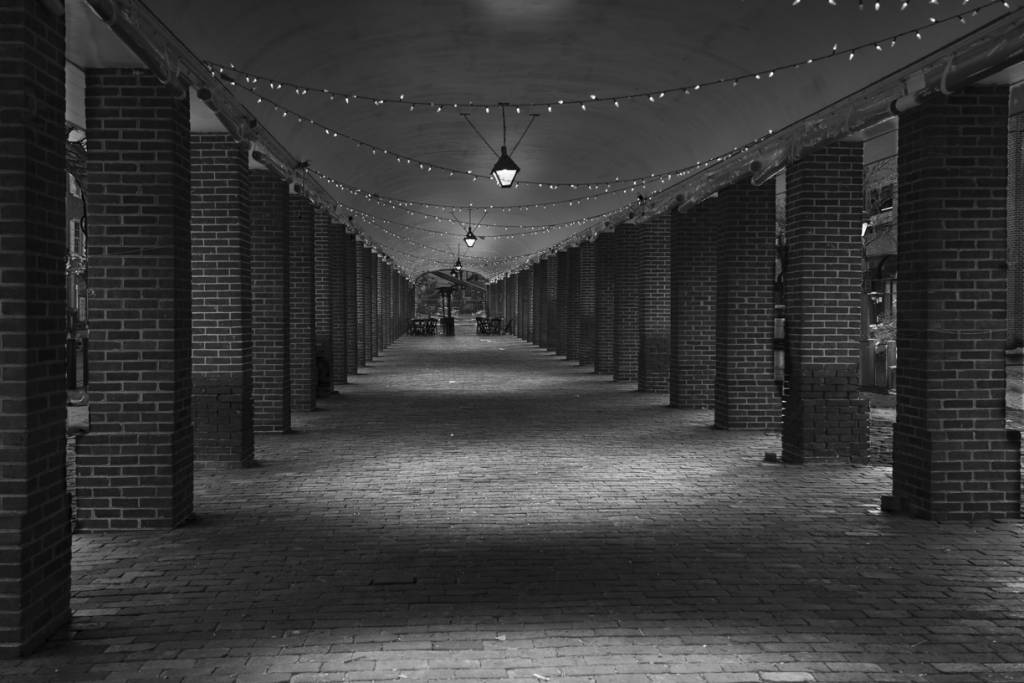 Black and white night view of empty area with supporting brick columns